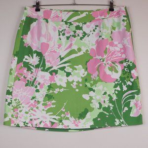 Talbots Skirt Green Pink 100% Cotton Floral Spring